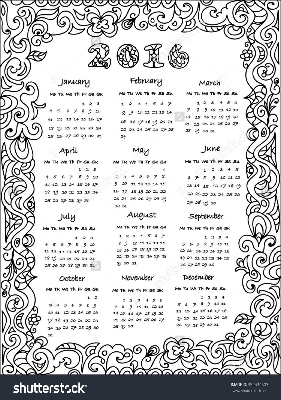 coloring pages calendar - Google Search | Time & Season Crafts Pre ...