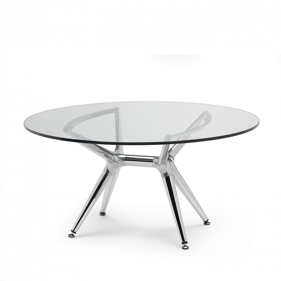 trendy round coffee table chrome legs glass top by scab