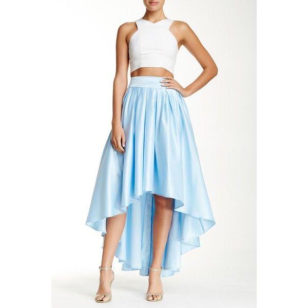 cf6d3e7097 Gracia Hi-Lo Flare Skirt ($50) ❤ liked on Polyvore featuring skirts, blue,  high low skirt, short front long back skirt, high low skater skirt, hi lo  skirt ...