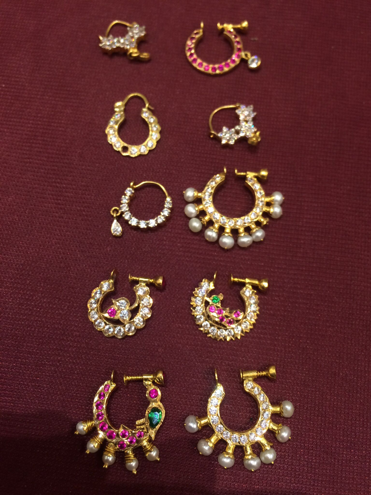 Nose Rings , antique, Pearl, Ruby, gold, Mookothi,Nathni, nose ...