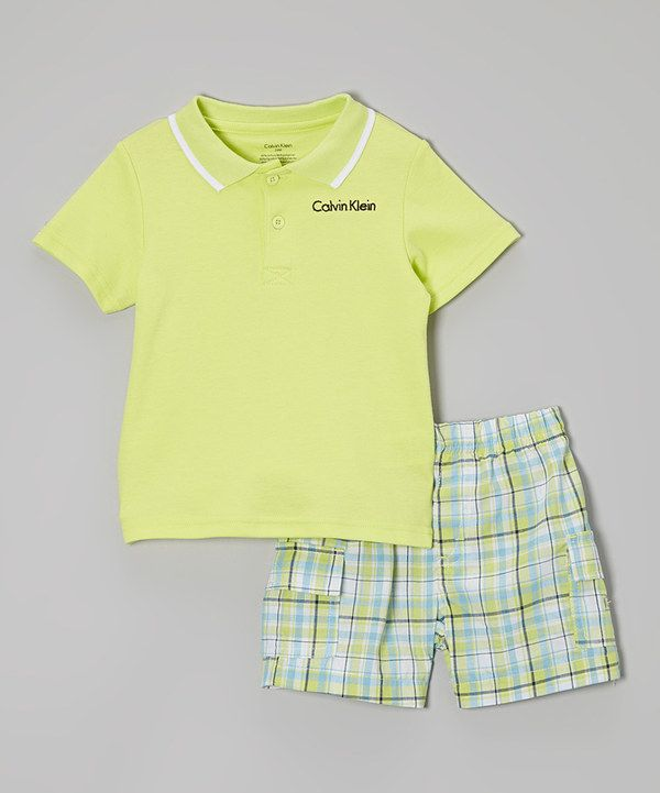 Look what I found on #zulily! Calvin Klein Underwear Lime & White Polo & Plaid Shorts - Infant by Calvin Klein Underwear #zulilyfinds