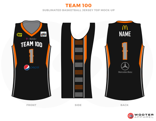 4832b3b9645 TEAM 100 Black Orange Brown Yellow Red Blue and White Basketball Uniforms