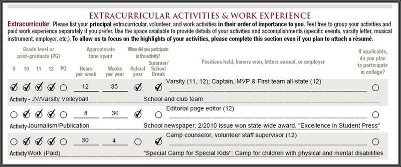 Common App Howto Extra curricular, Work activities