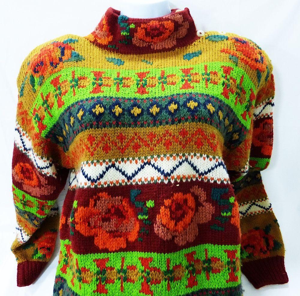 Roberta Scott christmas holiday sweater hand knitted vintage 100% virgin wool #robertafrost #Cardigan