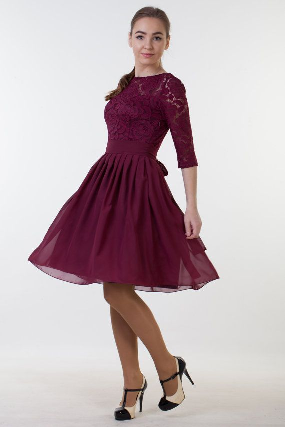 b222f08338167 Short burgundy dress with sleeves. Bridesmaid lace dress knee length ...