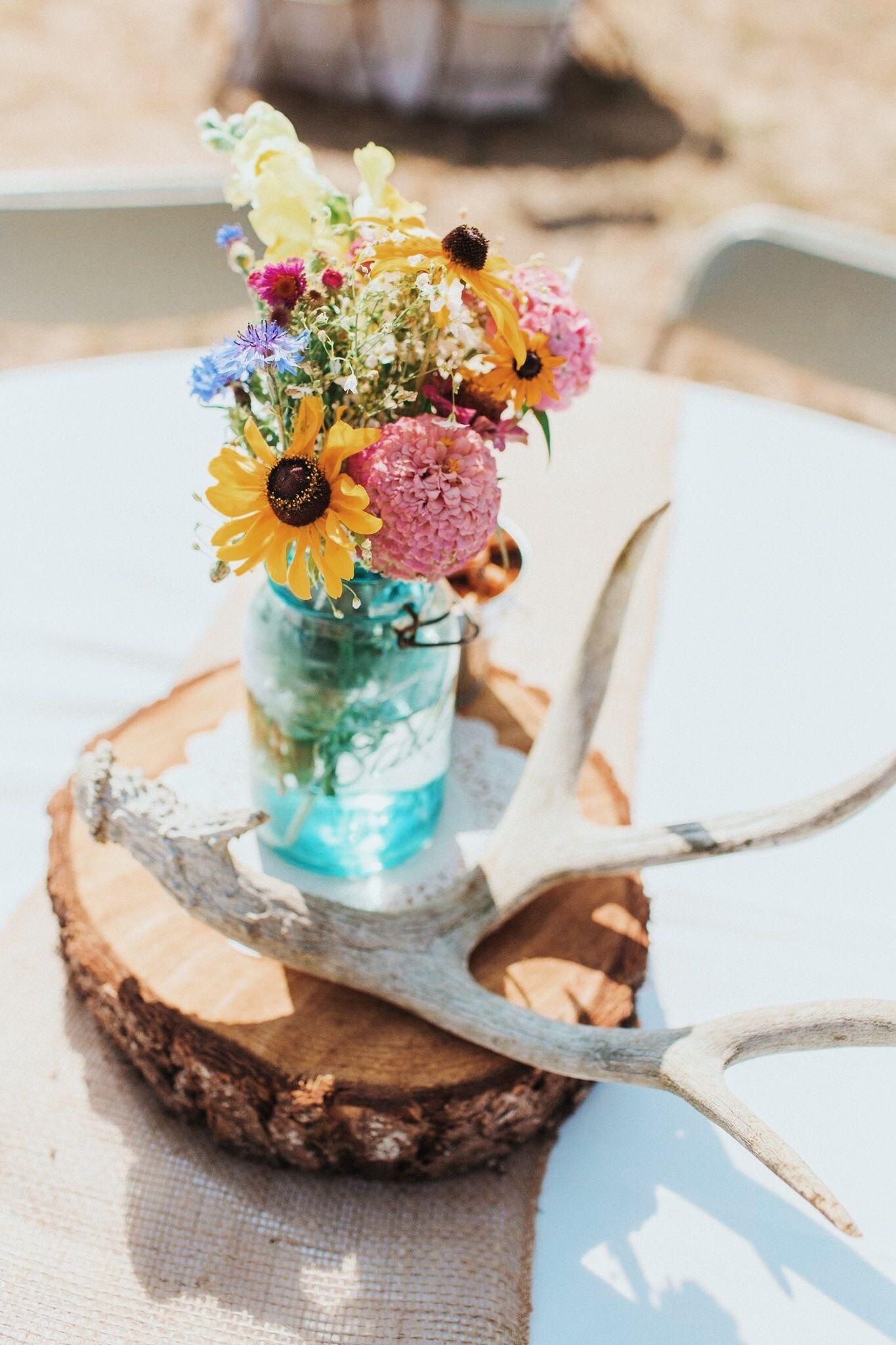 Wedding | Wedding centerpieces mason jars, Antler wedding centerpieces,  Wildflower centerpieces