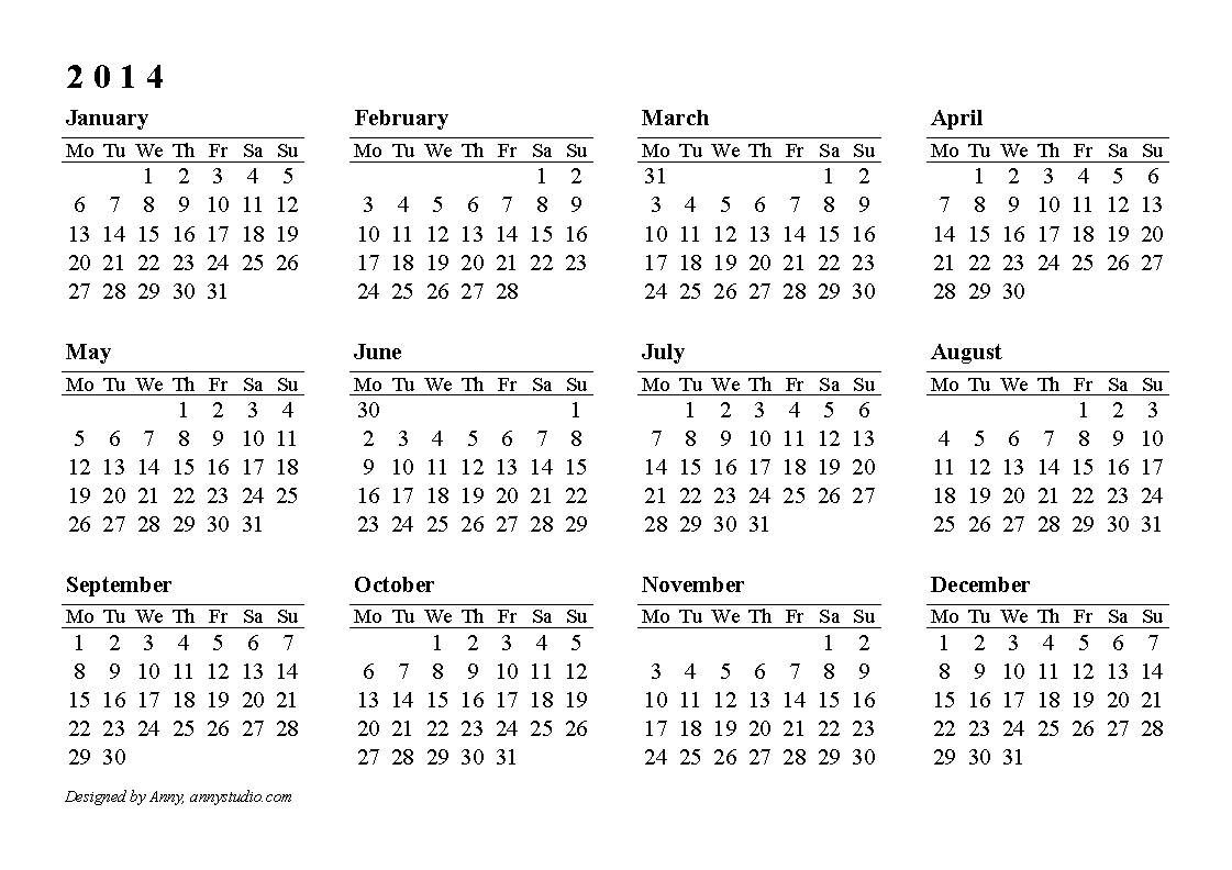 Calendarlabs   Free Printable Yearly Calendar  Online