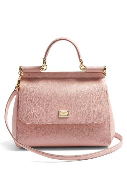 Free Shipping Visit New Dolce & Gabbana pink Sicily medium leather tote New XrTLN6S
