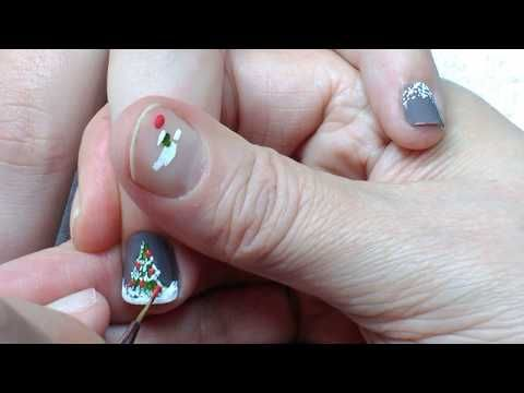 2221 christmas tree nail art for beginners on short