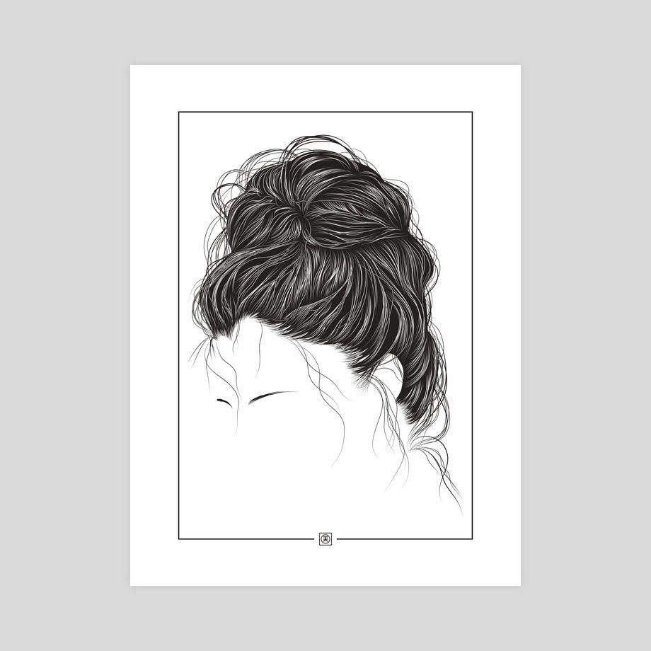 The Messy Hair Bun An Art Print By Kelvin Heslop Polyvore Etsy
