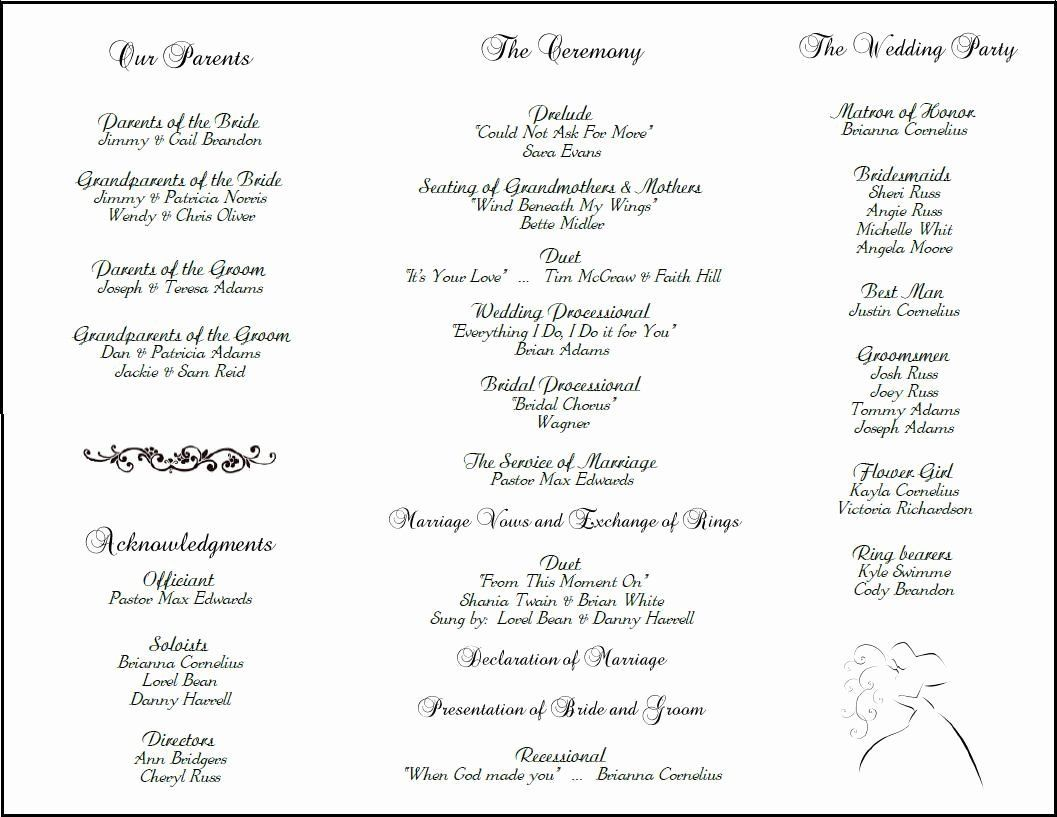 Catholic Wedding Ceremony Program Templates New Example Of