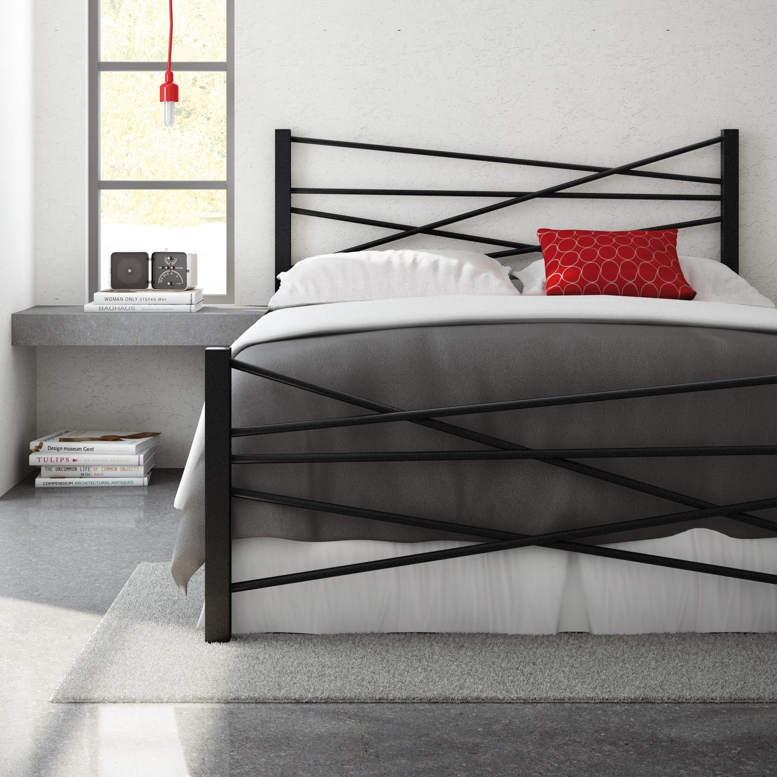 Amisco Crosston 60-inch Queen-size Metal Headboard and Footboard ...