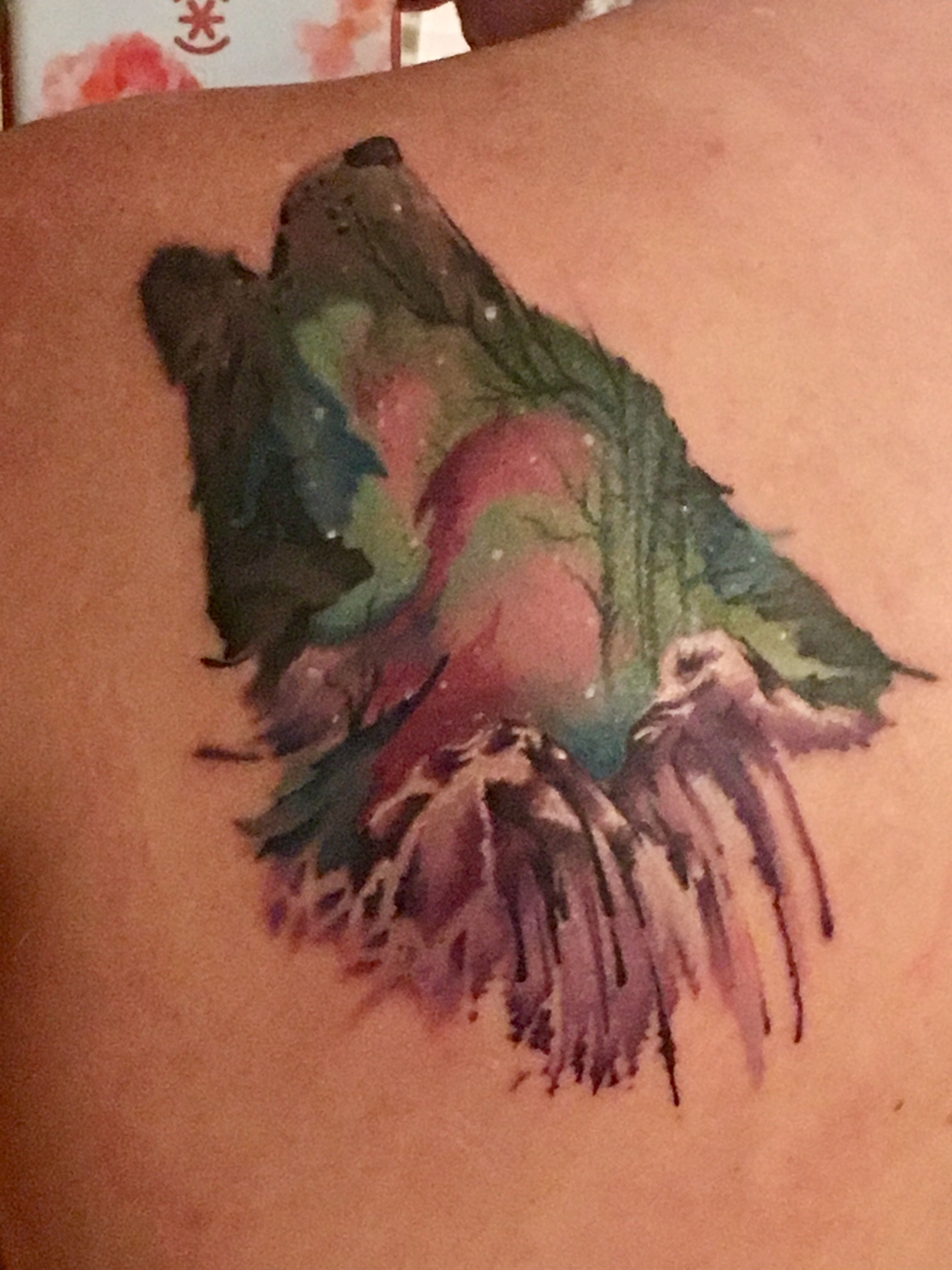 Watercolor Double Exposure Wolf Tattoo Inspirational Tattoos