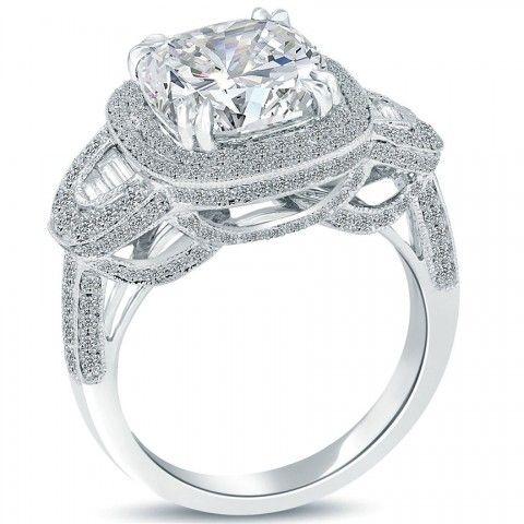 5.38 Carat D-SI1 Cushion Cut Natural Diamond Engagement Ring 14k Vintage Style