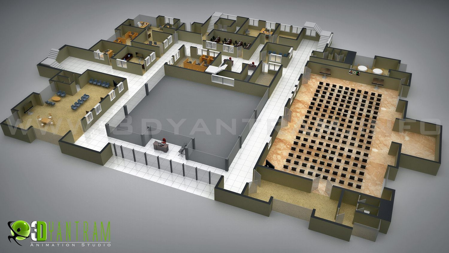 Commercial Floor Plan Design Office Interactive 3d