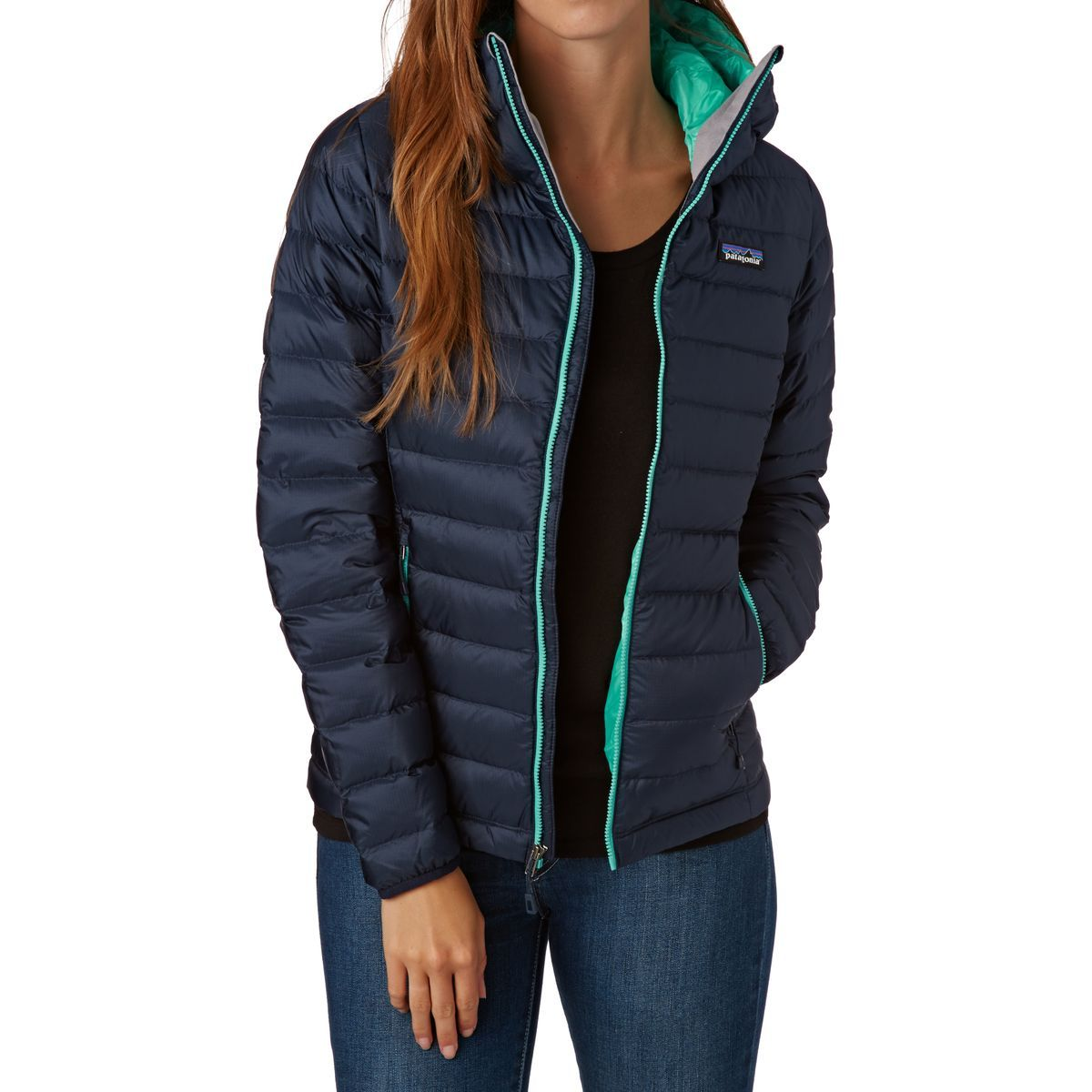 38c96858a21 Patagonia Women's Down Sweater Hooded Jacket - Navy Blue W/strait Blue
