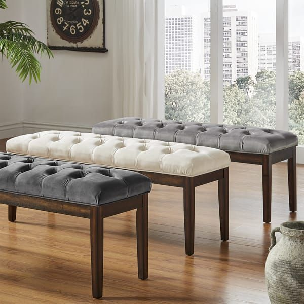 Benchwright II Velvet Tufted 52 Inch Bench By INSPIRE Q Bold