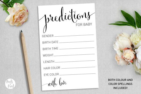Girl PERSONALISED Baby Shower Prediction Cards Boy Floral. Neutral