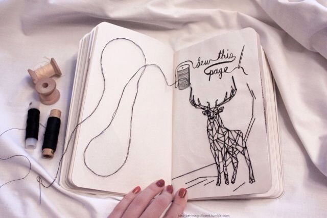 Sew this page.   Wreck this journal  Wreck This Journal Sew This Page
