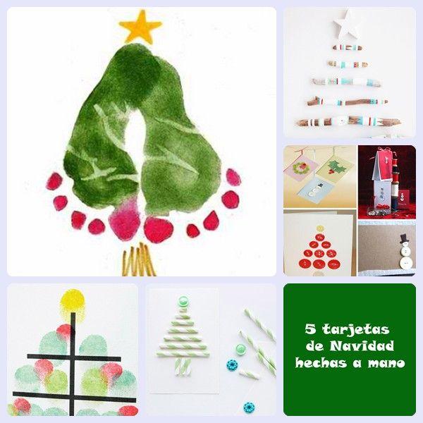 5 tarjetas de Navidad hechas a mano  Tarjeta navideña ...