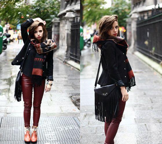 Maroon Leather Pants Black Peacoat Tribal Scarf Tassel Cross Body Fashion Outfits Fashion Looks