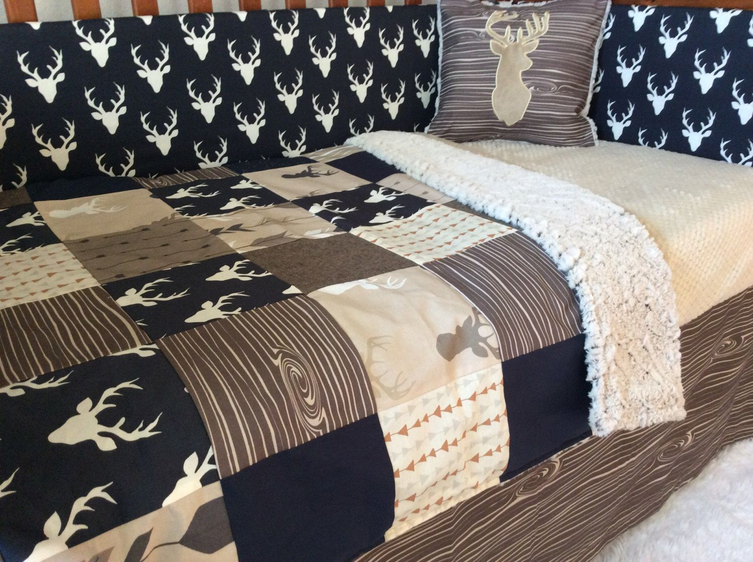 Used crib for sale ottawa - Crib Or Toddler Bed Set Woodland Nursery Navy Tan Brown Deer Crib Set Baby Boy Bedding