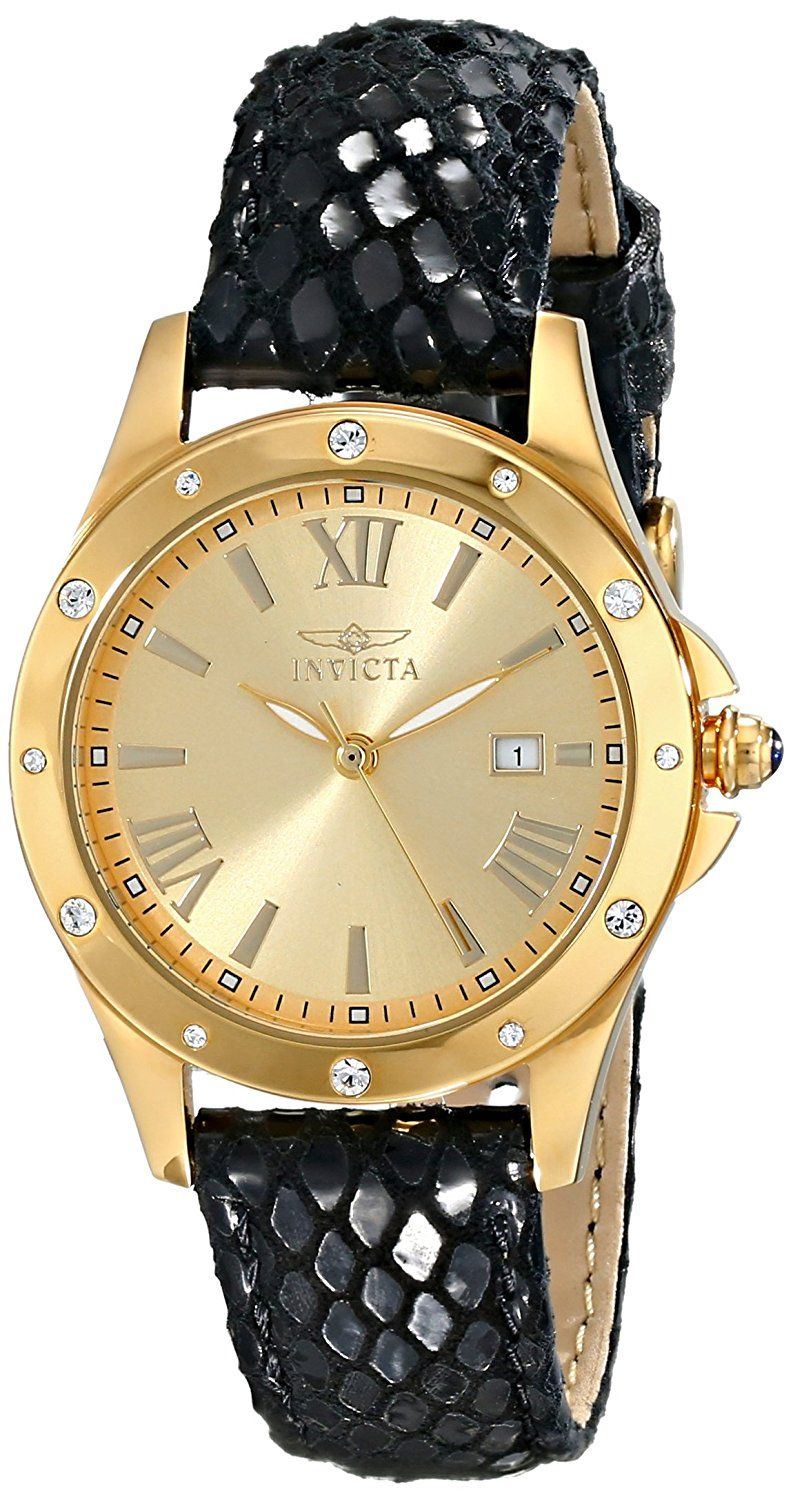 Invicta Women's 14843 Angel Analog Display Swiss Quartz Black Watch ** Want to know more about the watch, click on the image.