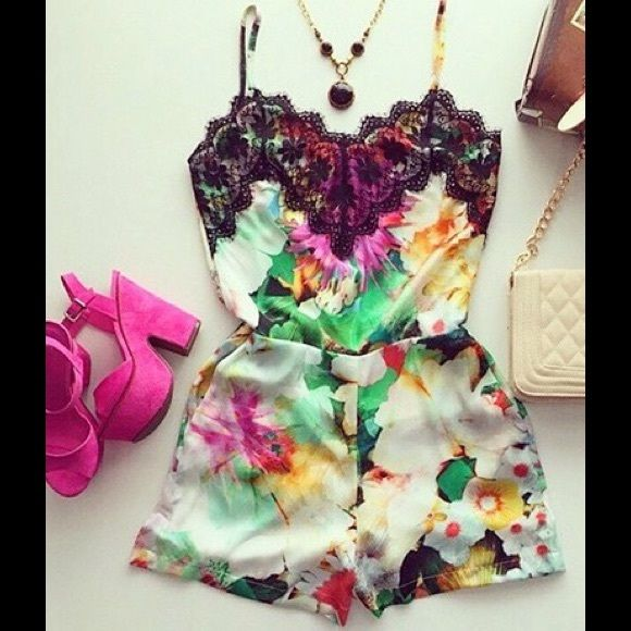 Valerie Multicolor Lace Trim Romper Gorgeous romper. Perfect for summer! Style with wedges or sandals. Features intricate lace trim at neckline, multicolor floral print and spaghetti straps. Pull on style. Semi-sheer. Polyester. Sizes S, M are available. ✅Let us know what size you are interested in and we will create a separate listing for you.✅ Boutique Other