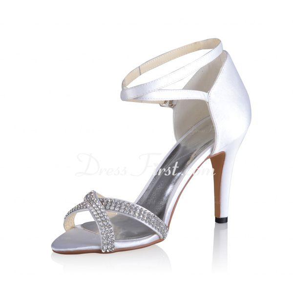 Soie Simili Satin Talon cône Escarpins Sandales Chaussure de Mariage avec  Boucle strass (047026744)