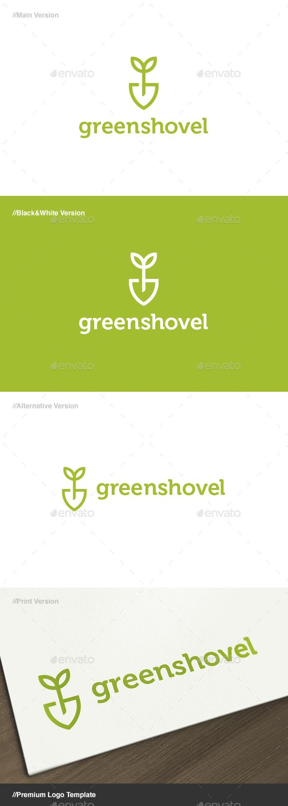 Green Shovel Logo By Domibit Green Shovel: Is A Logo That Can Be Used In  Companies That Provide Services Gardening, Gardening Supply Stores, ...