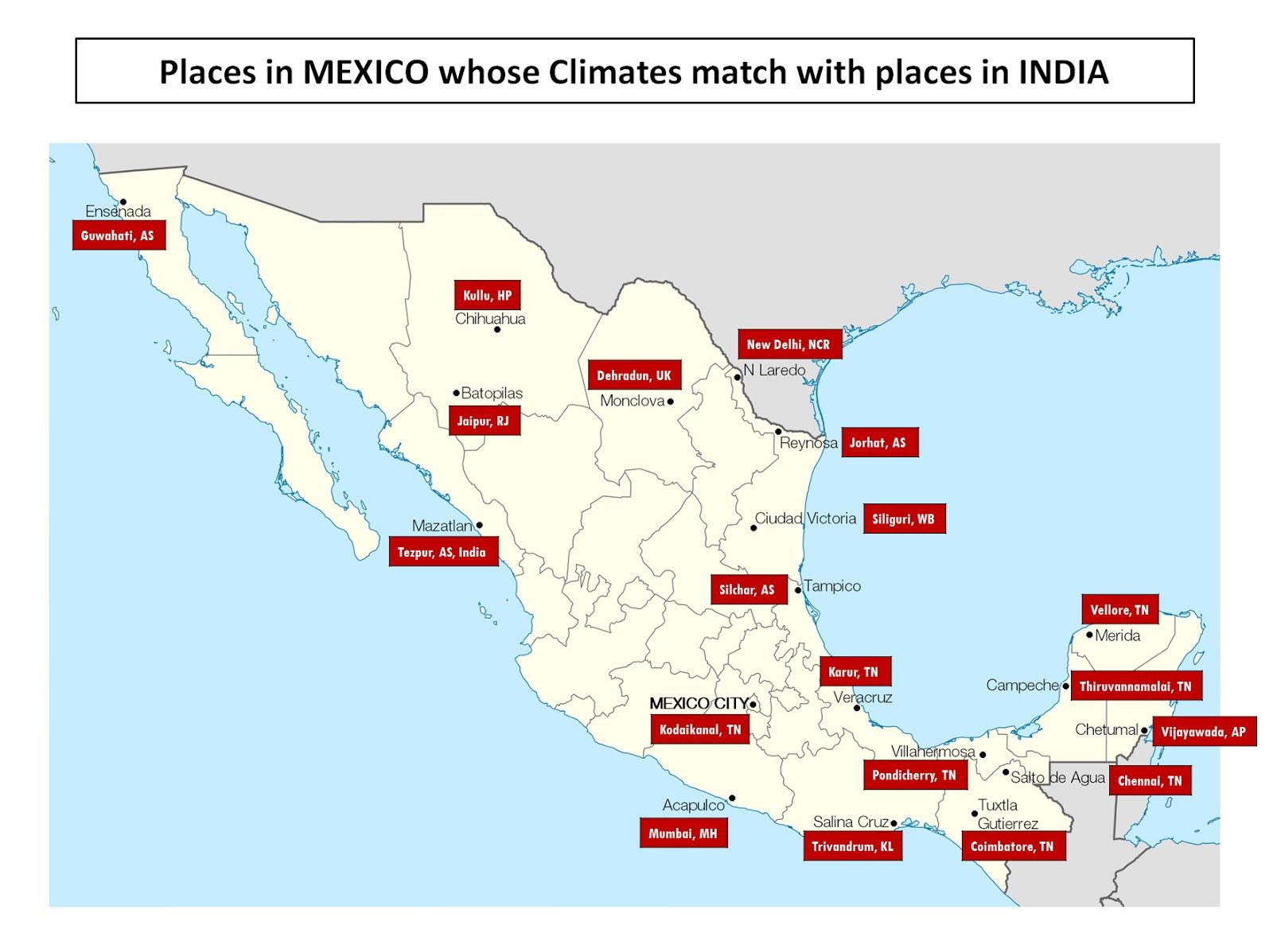 Monclova Mexico Map.Places In Mexico Whose Climates Match With Places In India Mexico