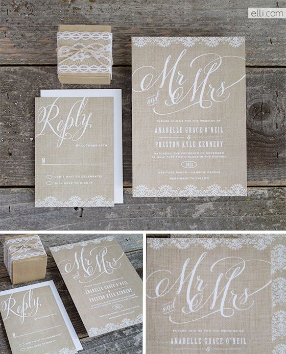 Burlap Mr and Mrs Wedding Invitation Suite Wedding Pinterest