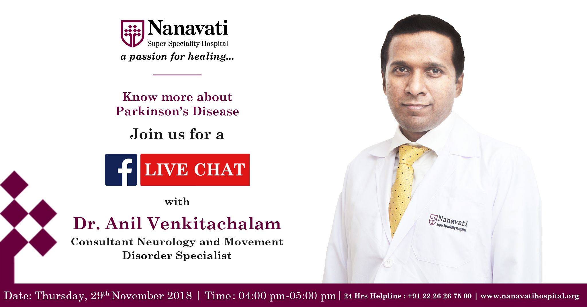 Join our #Facebook #Live #Chat with Dr  Anil Venkitachalam