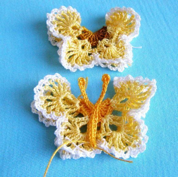 butterfly doily pic tutorial | Crochet Flowers, Hearts, Butterflies ...