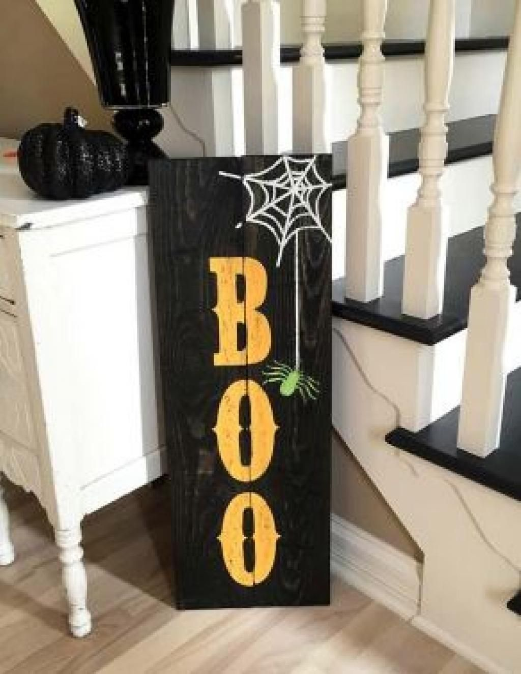 halloween boo sign in size custom colors and stains to match your spooky decor