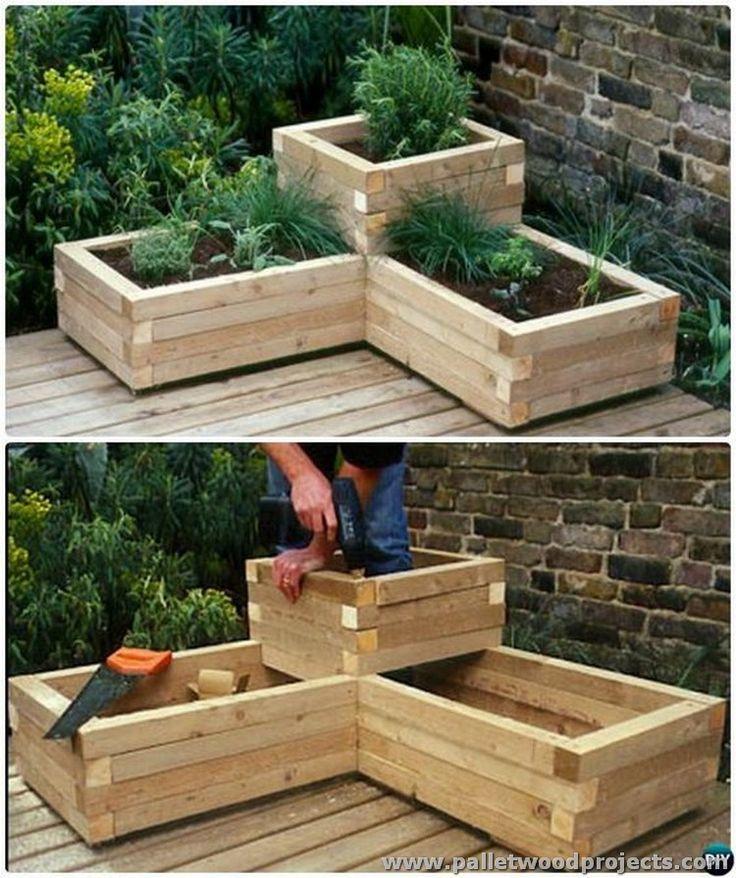 Wonderful Herb Garden Box Ideas Part - 11: DIY Corner Wood Planter Raised Garden DIY Raised Garden Bed Ideas  Instructions - Gardening And Patio