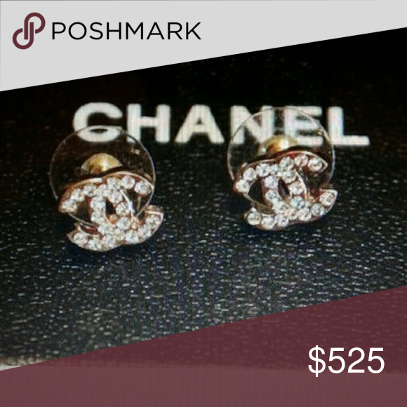 Chanel Goldtone Mini Cc Logo Earrings New Authentic Gold Tone Swarovski Crystal Por Hard To Find