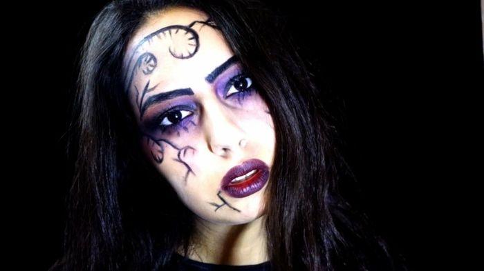 ideas para halloween bruja mala maquillaje con tonos oscuros