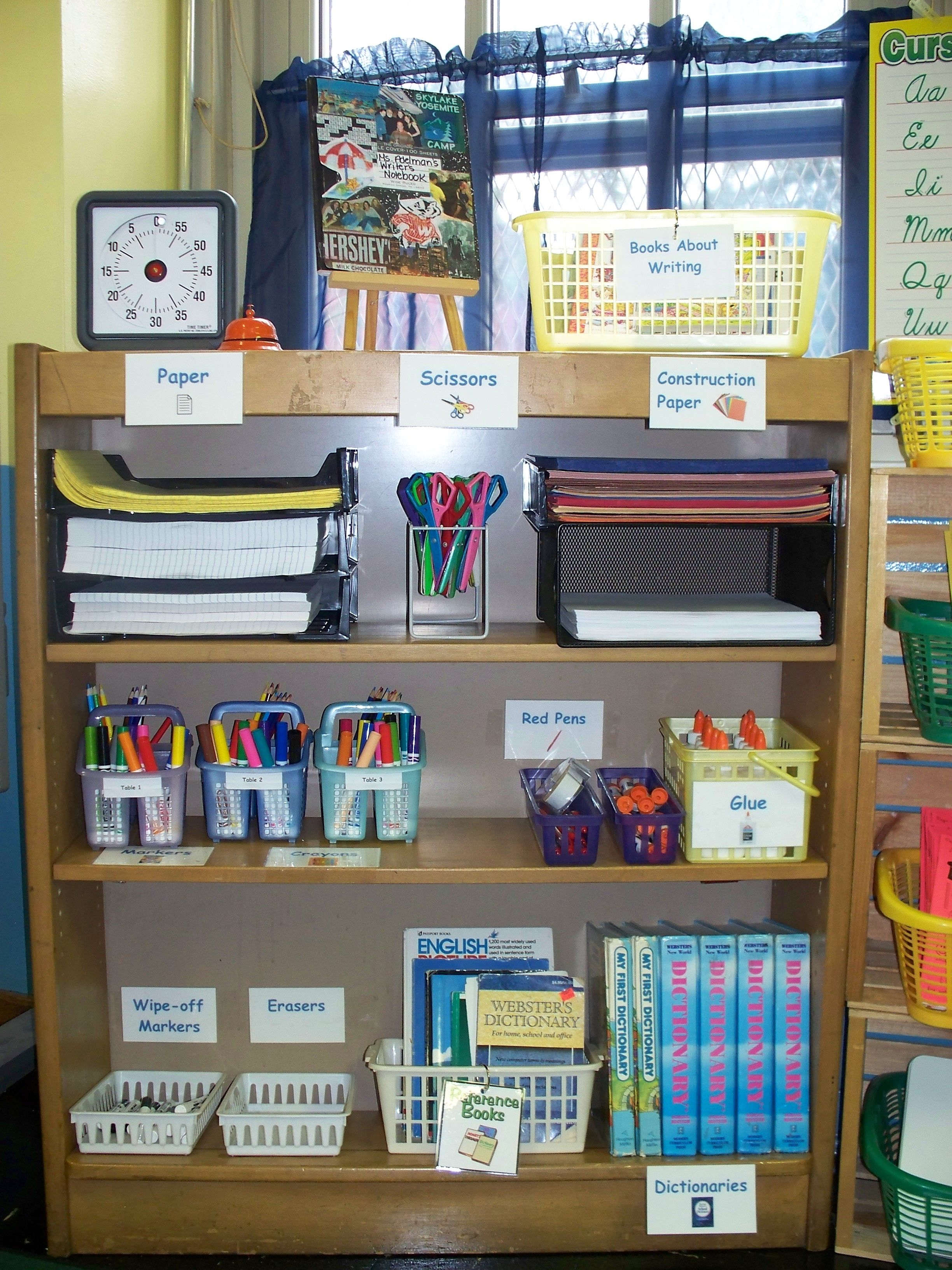 year 1 writing area organization