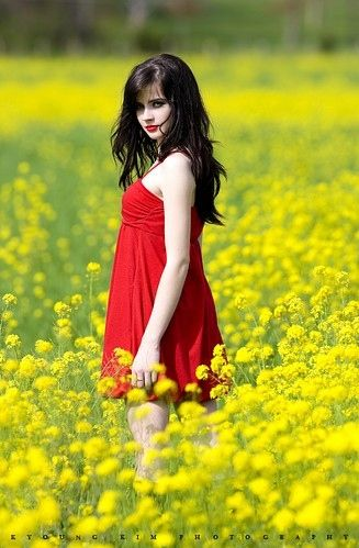 Mustard color dress with red flowers for girls