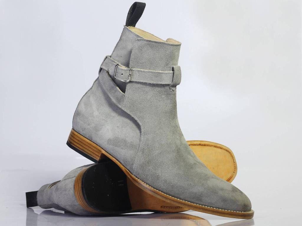 Handmade Gray Jodhpurs Ankle Boots Casual Men S Suede Shoes Suede Shoes Men Double Monk Strap Shoes Jodhpur Boots