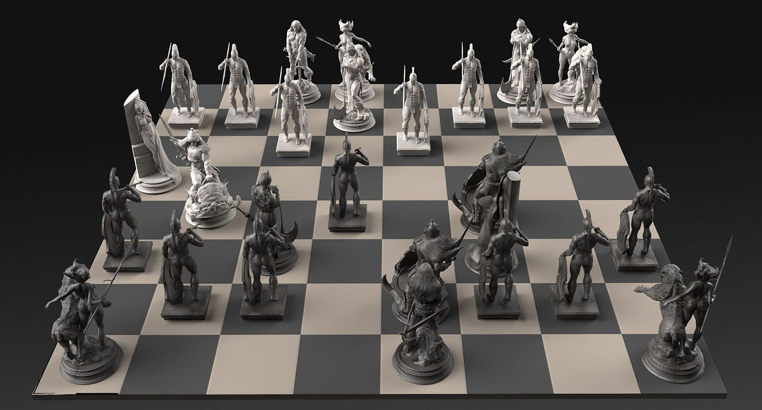 The -Frazetta Chess Set- Commission for Heads or Tales Coin