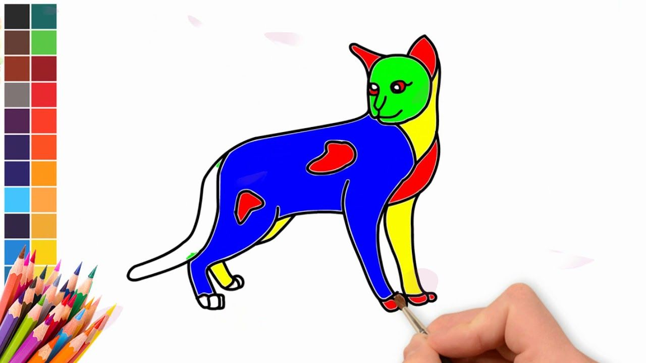 How To Draw Cat Coloring Pages And Learn Colors Different Drawings Baby Time Learning Colors Cat Coloring Page