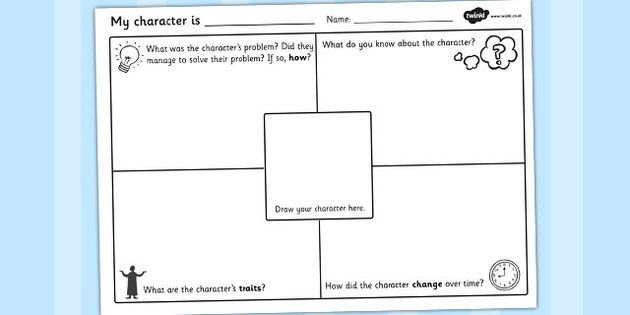 Character Description Writing Template | Character worksheet ...