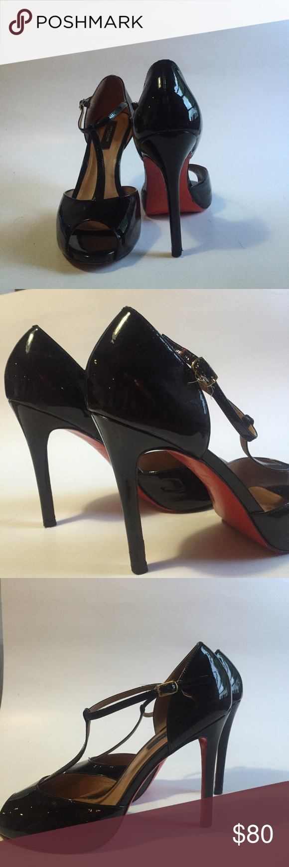 37bcf39c55cf Nine West T Strap Red Bottom Heels Louboutin Looks Nine West T Strap high  heels with painted red bottom soles! Christian Louboutin Shoes Heels