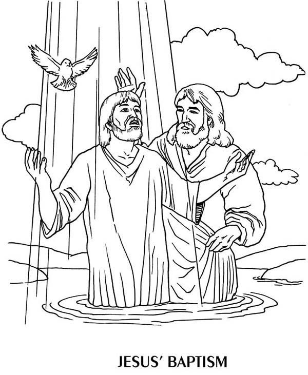 Jesus Baptism By John The Baptist Coloring Page Jesus Coloring Pages Bible Coloring Sunday School Coloring Pages