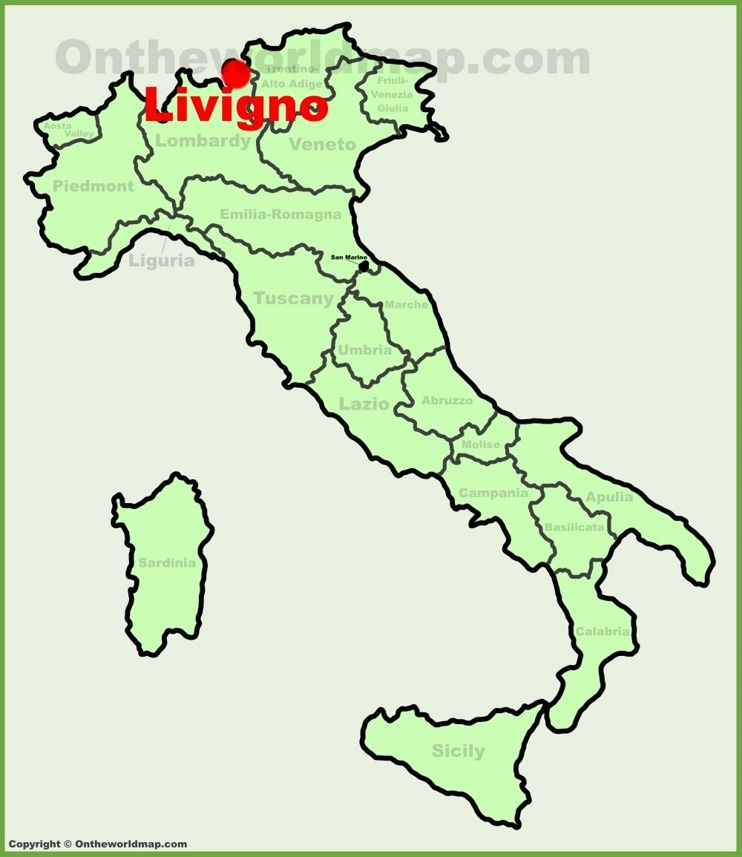 Livigno location on the Italy map Maps Pinterest Italy