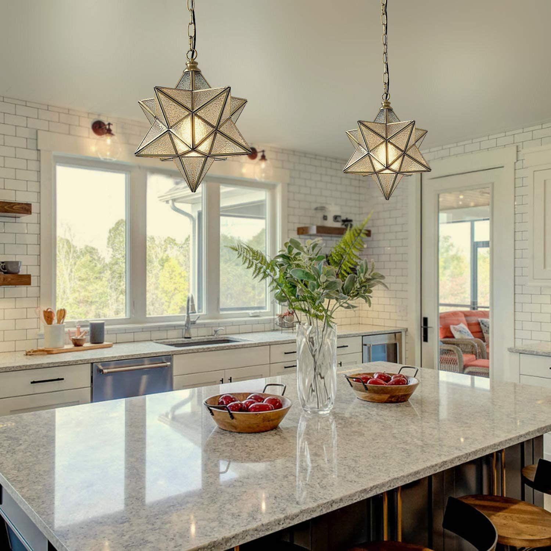 Eumyviv Moravian Star Kitchen Island Pendant Light With Glass Cover Modern Brass Kitchen Island Lighting Pendant Rustic Pendant Lighting Kitchen Moravian Star