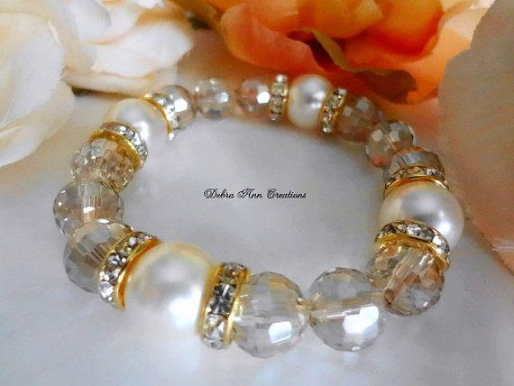 Swarovski White Pearl Champagne Crystal by DebraAnnCreations
