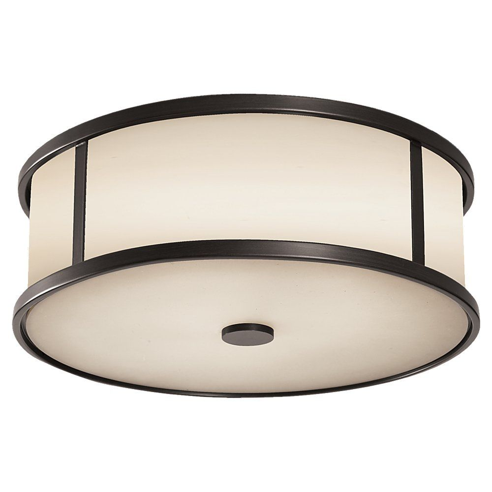 The Satchmo Drum Flush Mount Espresso Steel with Opal Etched